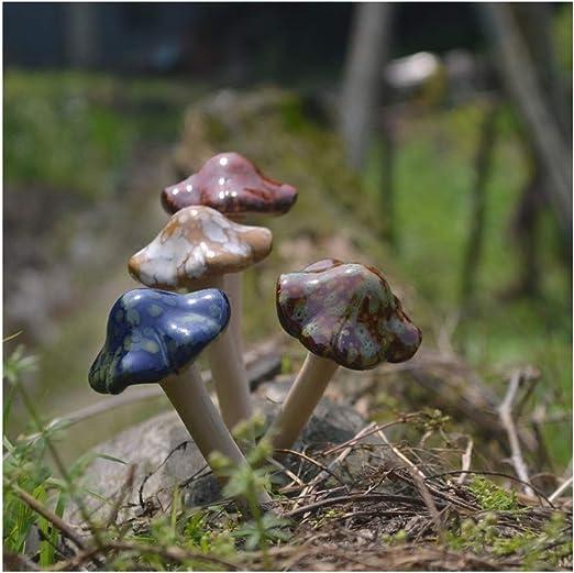 Setas de cerámica Figuras Decoración de jardín, Estacas Decorativas de jardín, Césped Decoración de Setas, Macetas de jardín Decoración Adorno de cerámica para Hadas Jardín Maceta Estatua Exterior: Amazon.es: Hogar