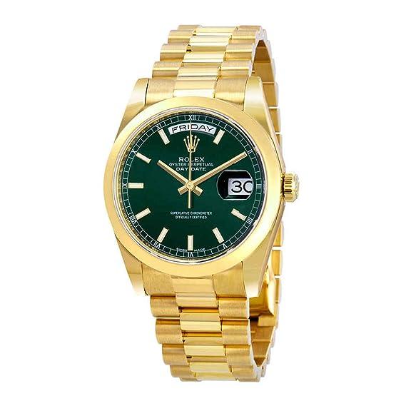 Rolex 118208GNSP - Reloj de pulsera para hombre con dial verde automático de 18 quilates y