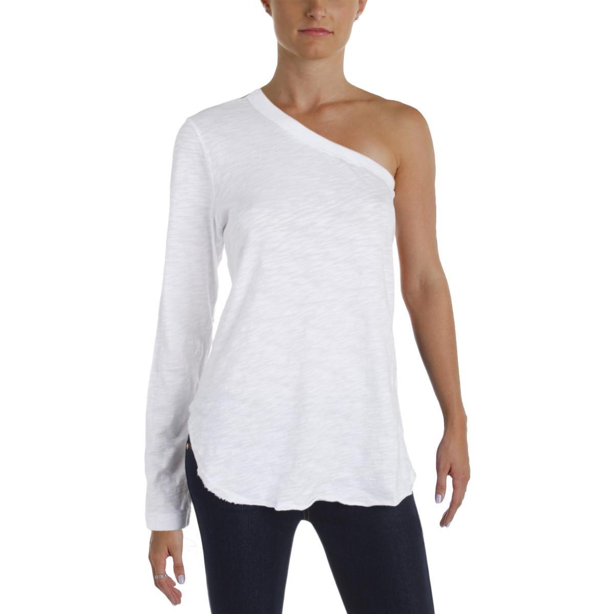 Wilt Womens Burnout One Shoulder Casual Top White L