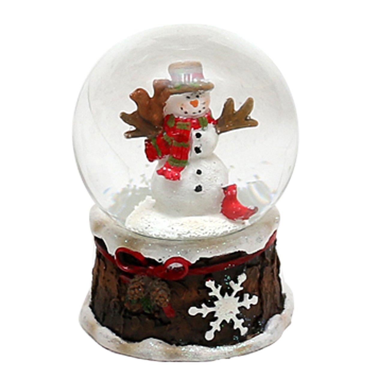 circa 6,5 x 4,5 cm///Ø 4,5 cm Bellisima palla di vetro con neve Pupazzo di neve con sciarpa rossa Disegno