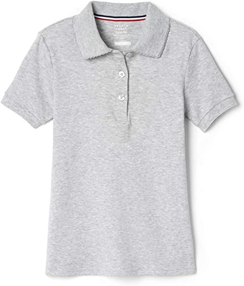 178f5864 French Toast Girls' Short Sleeve Interlock Polo with Picot Collar (Feminine  Fit),