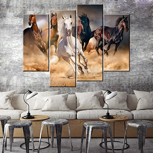 (Hd Wall Art - Vintage Running in The Desert White Brown Mustang Horse Photo Canvas Print Family Backdrop Decoration For Living Room Bedroom Meeting Room 4 Panel Wooden Framed )