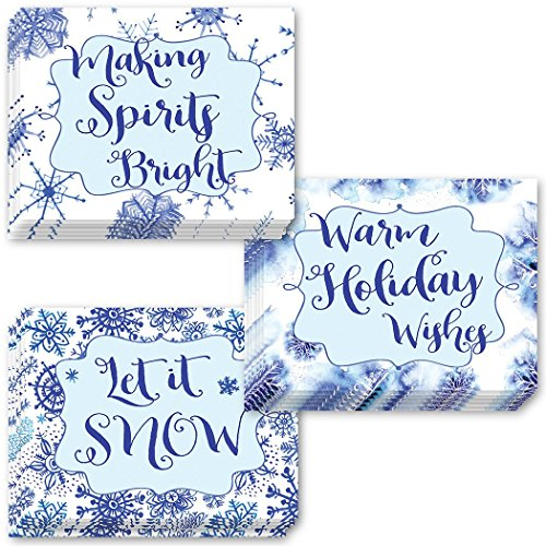 24 Pack Christmas Greeting Cards, 3 Assorted Snowflake Bright Designs, Envelopes Included, Season's Greetings to Family & Friends, 24 Premium Variety Mixed Boxed Notecards, Great Value by Digibuddha ()