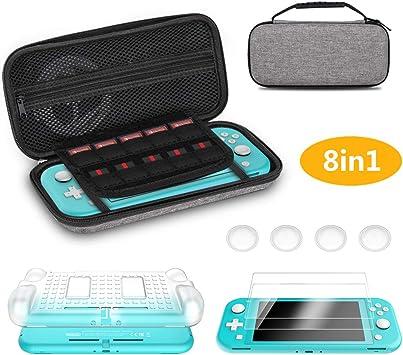 Hianjoo Funda Compatible con Switch Lite, 8 en 1 Estuche kit de Accesorios, 2 Protectores de Pantalla de Vidrio Templado, 4 Tapas de Agarre para el Pulgar, Cubierta Trasera Blanca: Amazon.es: Videojuegos