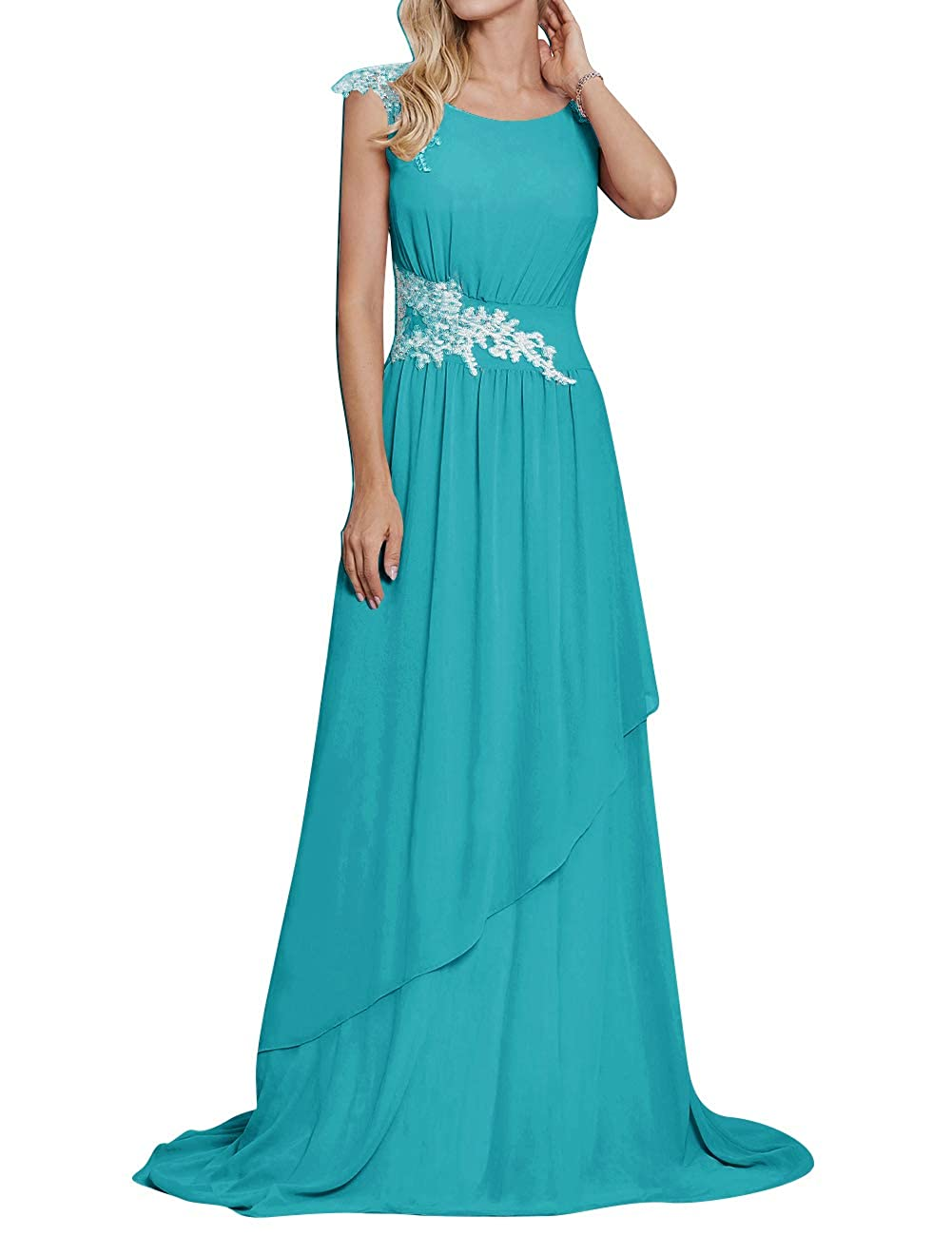 Turquoise Long Evening Party Dress Scoop Mother of The Bride Dresses Lace Appliques