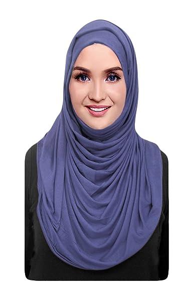 15d7252045657 Hana's Womens Cotton Jersey Hijab Scarf One Size (One Size, Denim ...