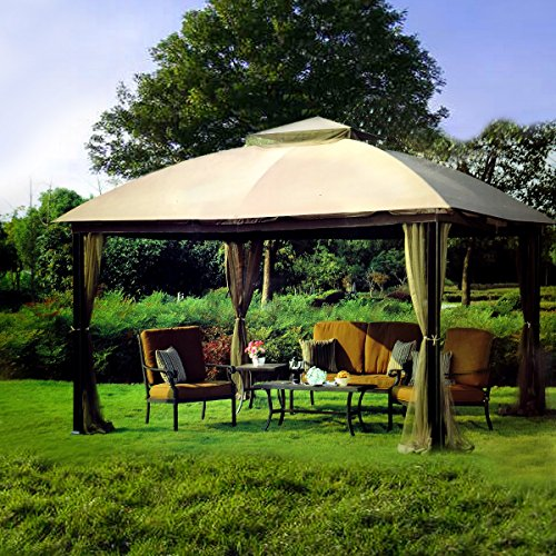 Beautiful SunJoy 10 X 12 Malibu Patio Gazebo With Mosquito Netting