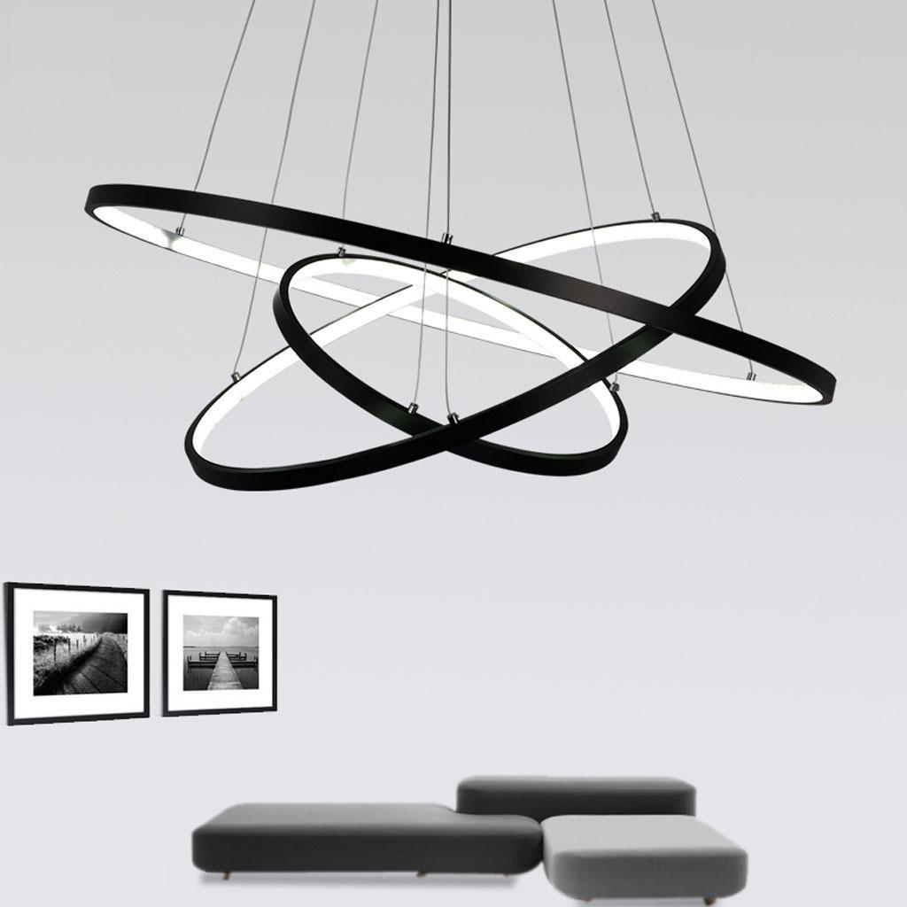 72W LED Pendelleuchte Esstisch Modern Drei Ring Design Lampe Innen Kreative Beleuchtung Hängelampe Acryl Kreative Innen Leuchte Dekoration Kronleuchter für Wohnzimmer Esszimmer Dimmbar Stufenlos Lüster , Weiß 50fc85