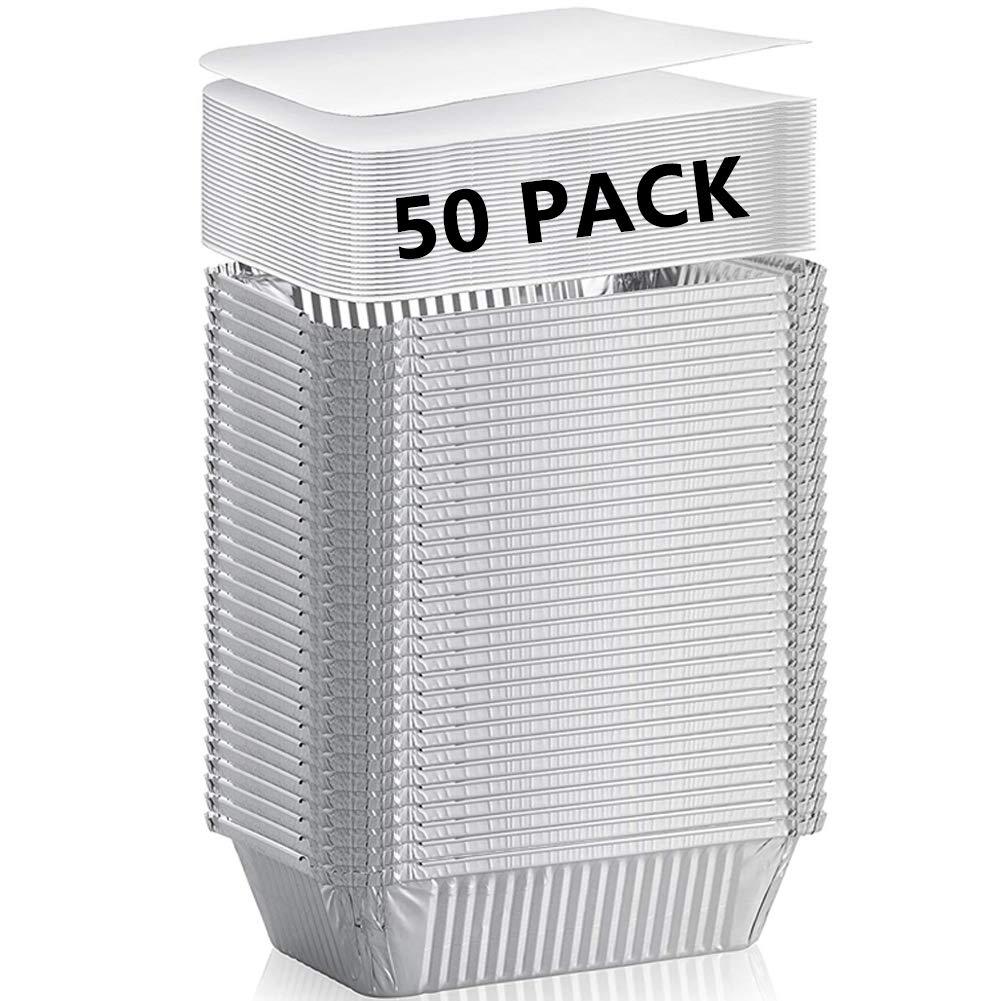 """Aluminum Pans (50-Pack) - Durable Aluminum Rectangular Foil Pans Table Deep Pans, With Board Lids, (6"""" x 4.9"""" x 1.77"""")"""