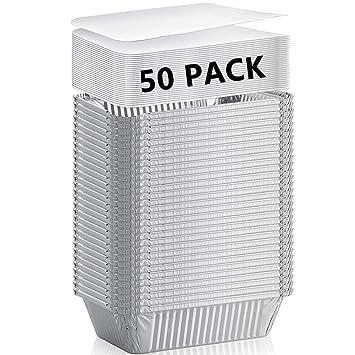 xiafei desechables resistente aluminio rectangular de cacerola, sartenes, 50 unidades para llevar con junta tapa: Amazon.es: Hogar