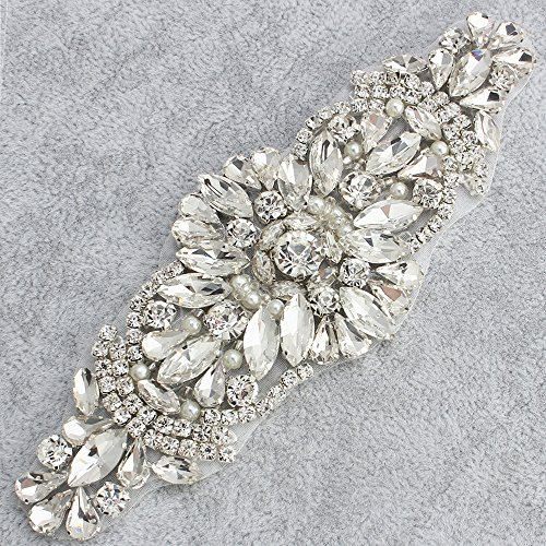[Fashion Rose Gold White Opal Crystal Rhinestones Appliques for Wedding Dress Belts Head Pieces] (Easy Diy Plus Size Halloween Costumes)