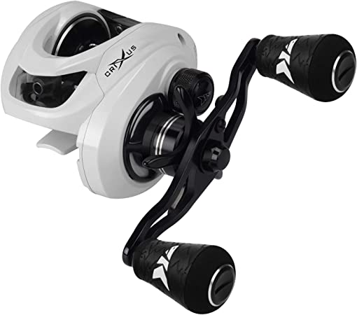KastKing Crixus Baitcasting Reels, 6.5:1/7.2:1 Gear Ratio Fishing Reels, 17.6lbs Carbon Disc Drag, Super Polymer Grips,Carbon Infused Nylon Frame,8-pc ...
