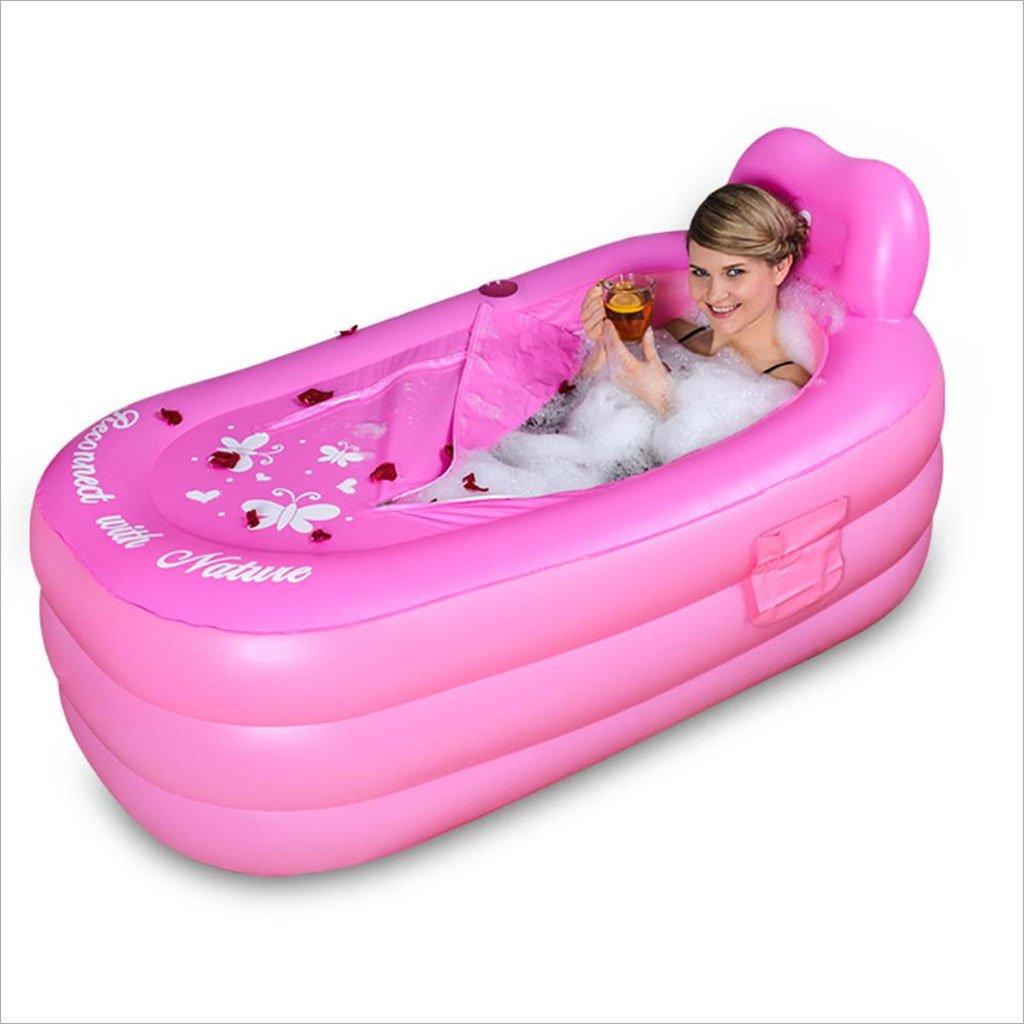 AJZGF Aufblasbare Badewanne für Erwachsene, die Den Großen Familienbadpool Verdickt Badewanne (Farbe   Rosa, Größe   130CM80CM70CM)