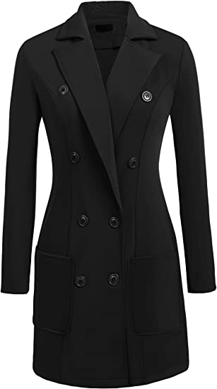 Womens Fit and Flare Wool Trench Coat Winter Long Overcoat Jacket Lapel Wrap L