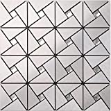Peel N Stick – Aluminum Mosaic Tile With Shiny Glass –3D ideal for kitchen wall backsplash, bathroom walls, fireplace and mirror DIY decor- H23 (22PCS 21.52Sq.ft)