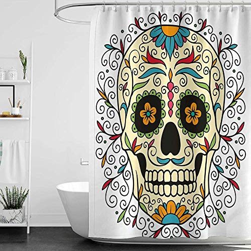 homecoco Shower Curtains for Bathroom Madison Park Sugar Skull Decor,Catrina Calavera Featured Figure Ornaments Macabre Remember The Dead,Multicolor W48 x L72,Shower Curtain for Kids]()