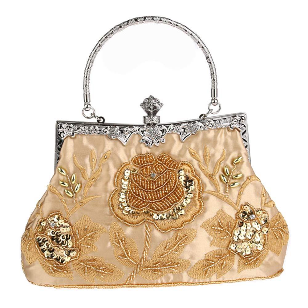 MMYOMI Vintage Floral Perlen Strass Stickerei Kupplung Pailletten Hochzeit Prom Bag Bridal Damen Crossbody Abend Handtasche