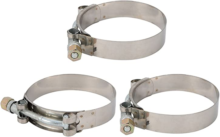 10 Pcs 68mm-76mm Stainless Steel T-Bolt Hose Clamp for Fuel Pump Filter Plumbing