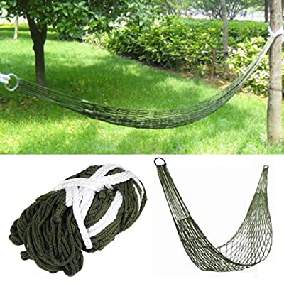 TRIXES Survival Camping Hammock for Army Travel Mini Nylon Survival Relax Sleeping Garden - Only weighs 365g but Supports up to 200kg. Reinforced securing metal rings. Material: nylon. - patio-furniture, patio, hammocks - 61xs4HHpNzL. SS400  -
