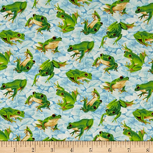 Fabri-Quilt Frolicking Fields Tossed Frogs Light Blue/Multi