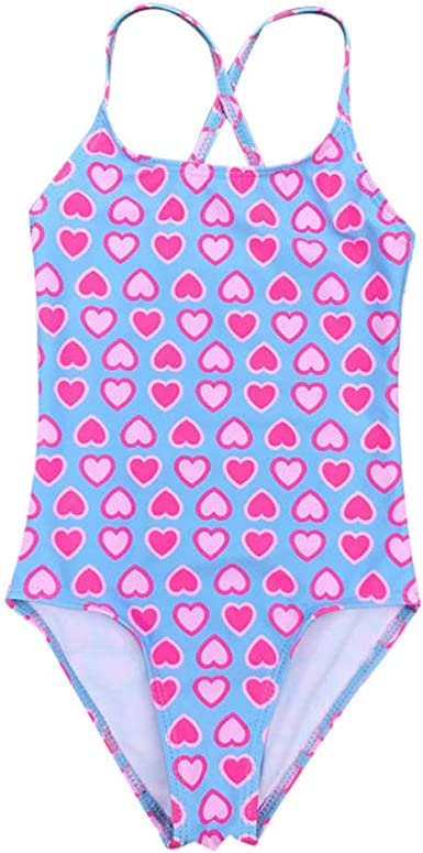 Baby Girls Swimwear One Piece Swimsuit Little Kids Bathing Suit Suspenders Love Hearts Print Romper Cover Up