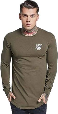 Sik Silk - Camiseta de Manga Larga para Hombre Verde Caqui Large: Amazon.es: Ropa y accesorios
