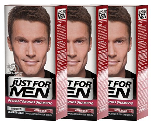 3x JUST FOR MEN Pflege-Tönungs-Shampoo mittelbraun (je 66ml)