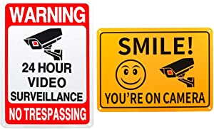 2-Pack 24 Hour Video Surveillance Sign, No Trespassing Metal Reflective Warning Sign, Rust Free Aluminum 10 x 7 in, Indoor or Outdoor Use for Home Business CCTV Security Camera, Reflective &Waterproof