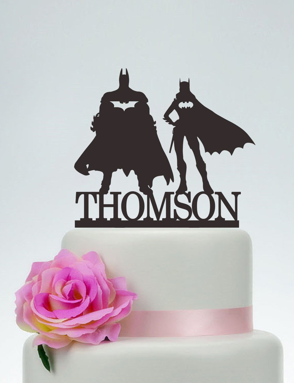 Batman and Batgirl Cake Topper, Wedding Cake Topper,Personalized Cake Topper,Superhero Cake Topper,Custom Topper,Hero Wedding C140