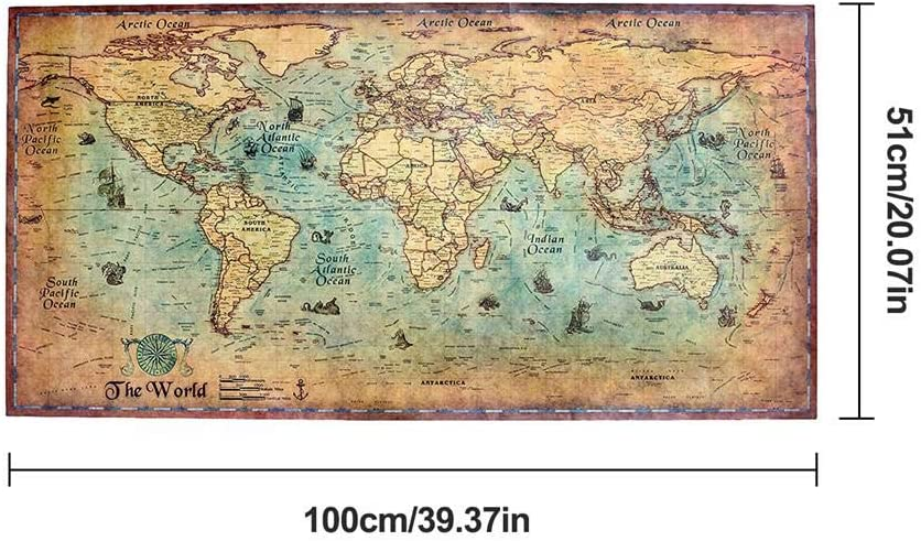 Jialai Vintage Nautical Illustration Nautical Sea World Map Sticker Paintings Home Decoration Poster Wall Art Picture apposite
