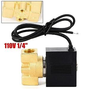 "1/4"" 110-120V AC Brass Solenoid Valve Gas Water Air N/C Electric Solenoid Valve NPT Gas Water Air Normally Closed"
