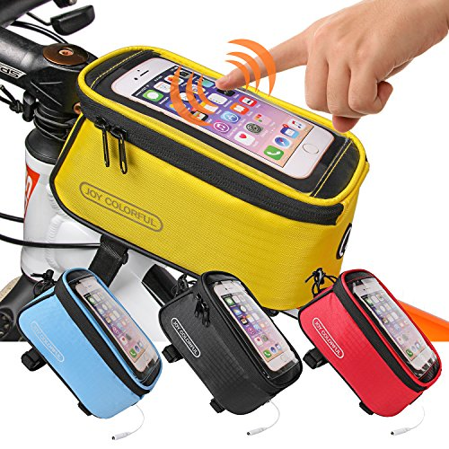 JOY COLORFUL Bicycle Bags Bicycle Front Tube Frame Cycling Packages 4.2,4.8,5.5 inches Touch Screen Mobile Phone Bags Professional Bicycle Accessories(Yellow, Medium)