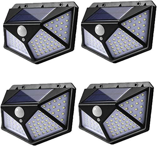 100 Led Solar Motion Sensor Lights Outdoor, Eicaus Wireless Weatherproof Solar Powered Lights for Steps Yard Garage Porch Patio, IP65 Waterproof with Wide Angle 4 Pack