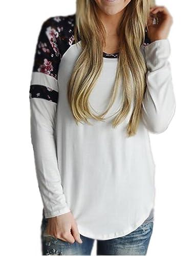 Blusas Y Camisas Mujer Estampadas Flores Camiseta Tops Con Mangas Largas Tallas Grandes Personalizad...