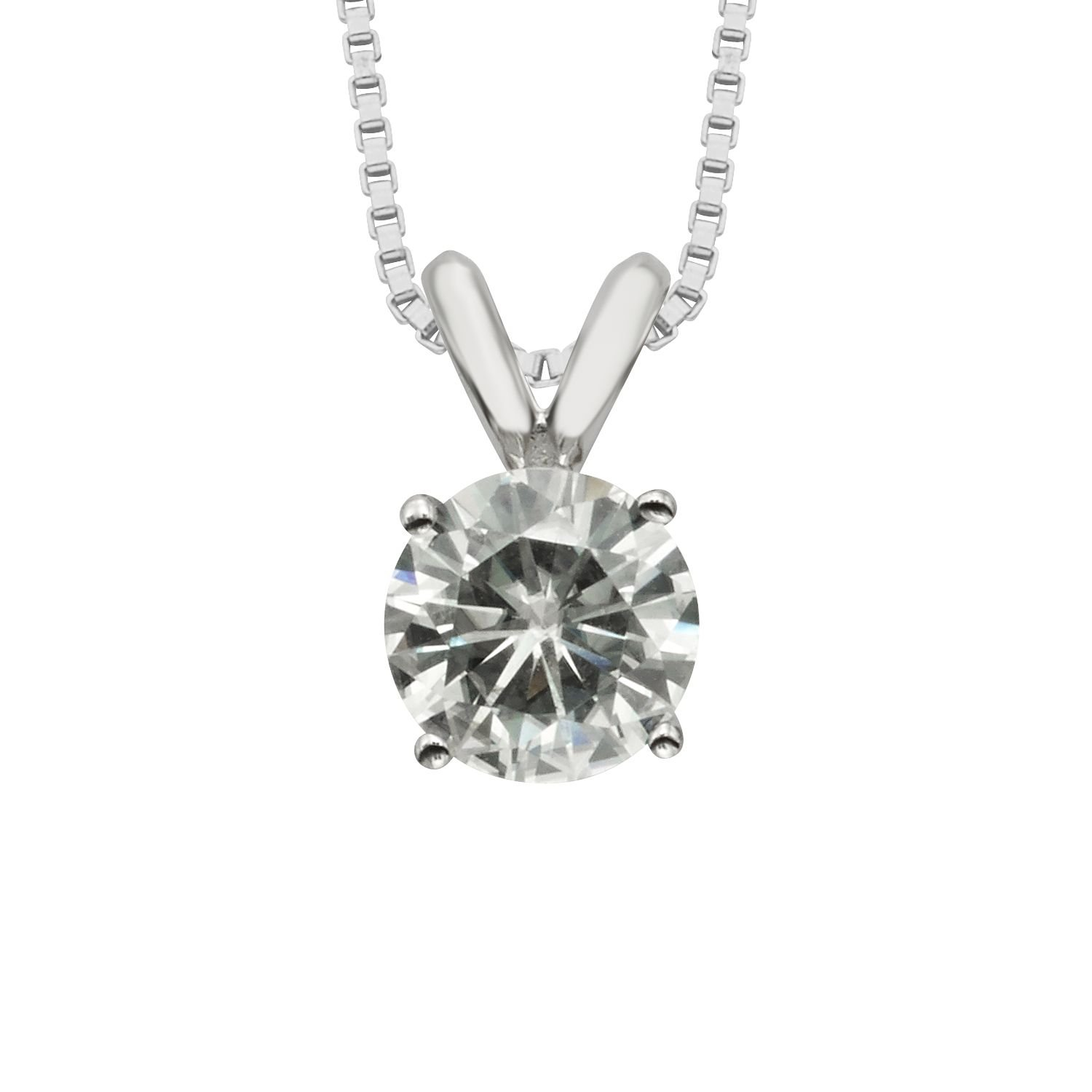 Forever Classic Round Cut 6.5mm Moissanite Pendant Necklace, 1.00ct DEW By Charles & Colvard
