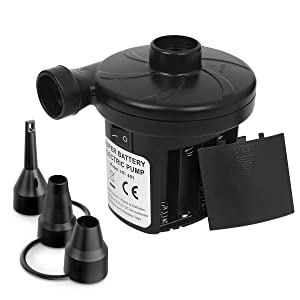 sanipoe Battery Powered Air Mattress Pump, Electric Quick-Fill Blower Portable Inflator Deflator for Inflatables Raft Bed Boat Pool Toy, Black