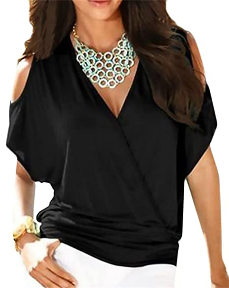 a398ea6f49225 Domple Womens Sexy Cold Shoulder Short Sleeve V-Neck Wrap Blouse Tops  T-Shirt