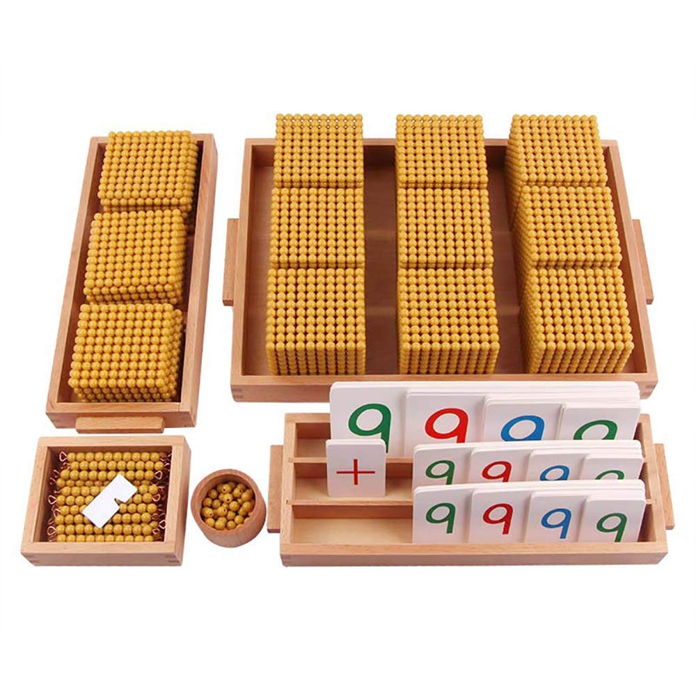 Montessori Golden Bead Materials Decimal System Bank Game Mathematics Math Teaching Aids Materials Baby Preschool Education Toys