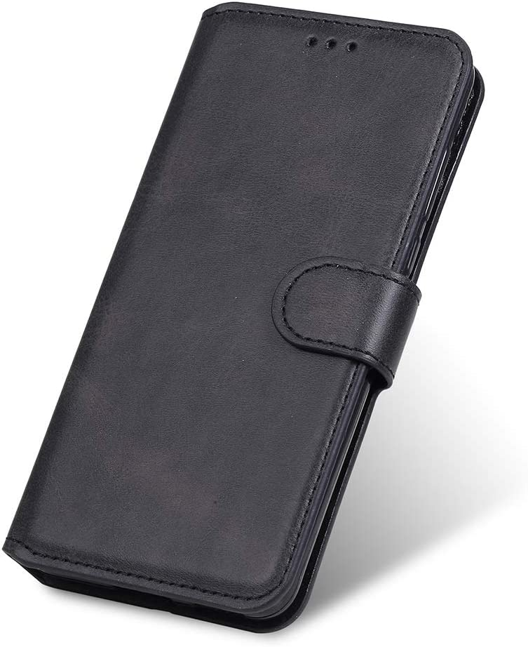GOGME Funda para Xiaomi Poco M3 Funda con Billetera, Suave PU Cuero Flip Carcasa Case Cover con Soporte/Tapa Tarjetas, Ultrafino Cubierta Magnética para Xiaomi Poco M3, Negro