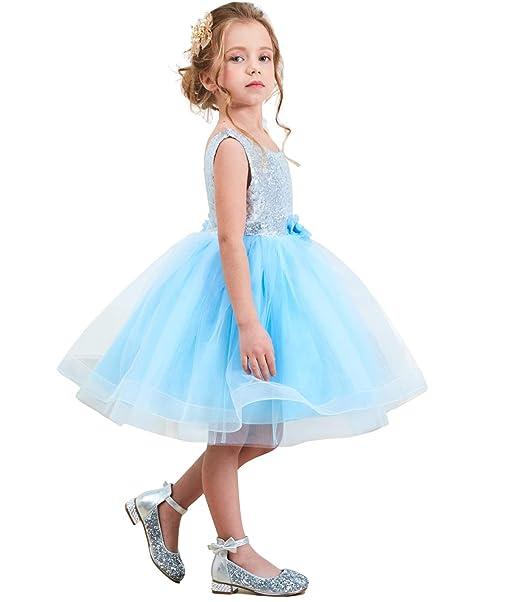 6078131a99f TTYAOVO Sequins Flower Girls Princess Ruffles Wedding Party Tutu Dress Size  1-2 Years Blue