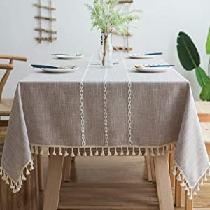 Pahajim Linen Rectangle Tablecloth Table Cloth Heavy Weight Cotton Linen Dust-Proof Table Cover for Party Table Cover Kitchen Dinning (Maroon Stripe, Rectangle/Oblong,55 x 71 Inch)