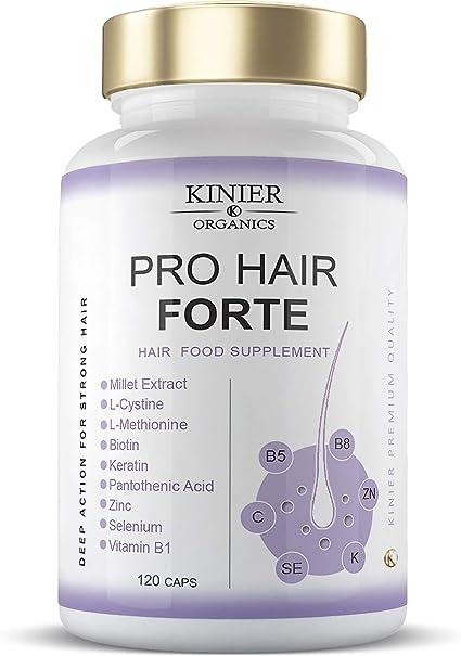 PRO HAIR FORTE - Potente Suplemento Capilar Multi-Nutritivo y Reforzador | Con Biotina, Queratina, Extracto de Mijo | Acción Rápida y Visible | 120 ...