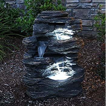 "24"" Rock Waterfall Garden Fountain w/ LED 