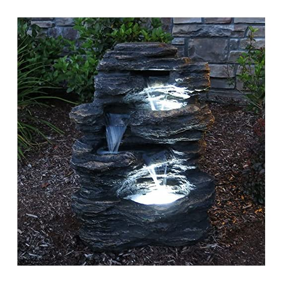 "24"" Rock Waterfall Garden Fountain w/LED Lights: Perfect Garden Water Feature, Patio Fountain, Outdoor Fountain. Features Elegant Waterfall Flow - ✔ DIMENSIONS: 24"" Tall x 19"" Wide x 13"" Deep - WEIGHT: 22lbs - COLOR: Slate ✔ QUICK AND EASY out of the box set up - Perfect water feature for outdoor, gardens, backyards, decks, patios and porches ✔ DURABLE light-weight cast resin and fiberglass water fountain - Individually hand finished by skilled artisans - patio, outdoor-decor, fountains - 61xsAu84EbL. SS570  -"