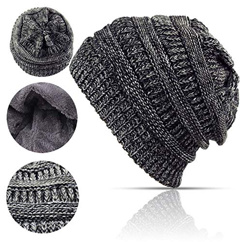 Lobeve Cable Knit Beanie Winter Warm Fleeced Fuzzy Lined Skull Hat for Womens Mens-Black&Grey