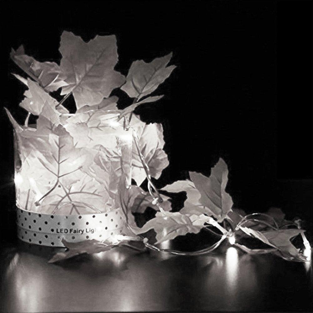 super1798 10 LED Maple Leaf Harvest Fall Leaves妖精文字列ライトホームDIYデコレーション ホワイト B079KCDWGL 15997 ホワイト ホワイト