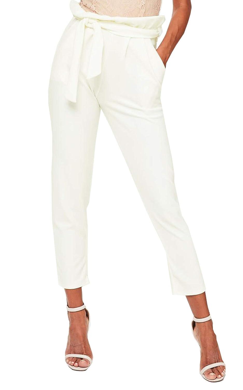 TALLA 44. Re Tech UK Mujer Talle Alto con Cinturón Bolsa Papel Pantalones elástico Ajustado Bolsillos Cigarette ESTRECHADO Trabajo Informal Tallas 6-14