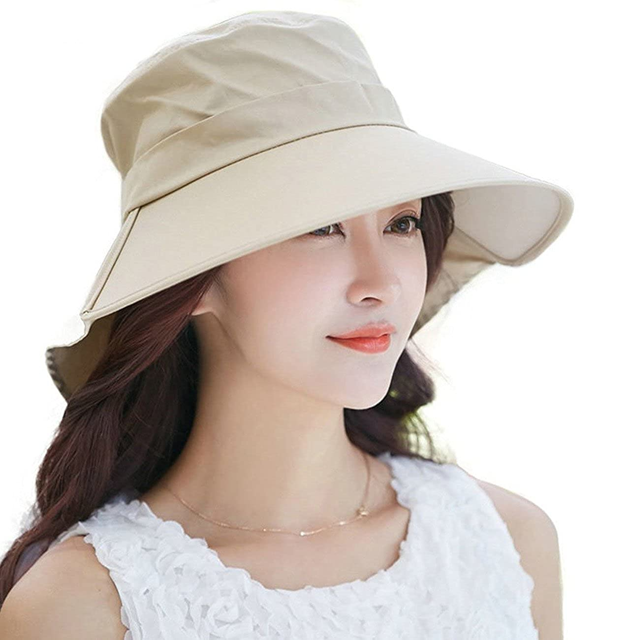 34d01b6d1a71a6 HINDAWI Sun Hat Wide Brim Sun Hats for Women UV Protection Floppy Beach  Womens Summer Flap Cover Cap Beige at Amazon Women's Clothing store: