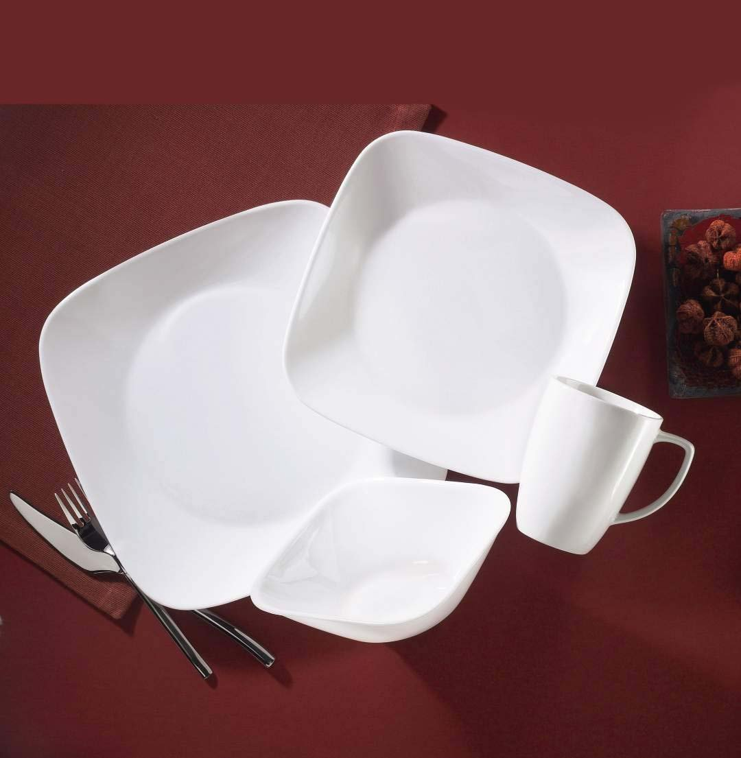 Amazon.com | Corelle Square 16 Piece Dinnerware Set, Pure White, Service  For 4: Correlle Square Dinnerware Sets: Dinnerware Sets