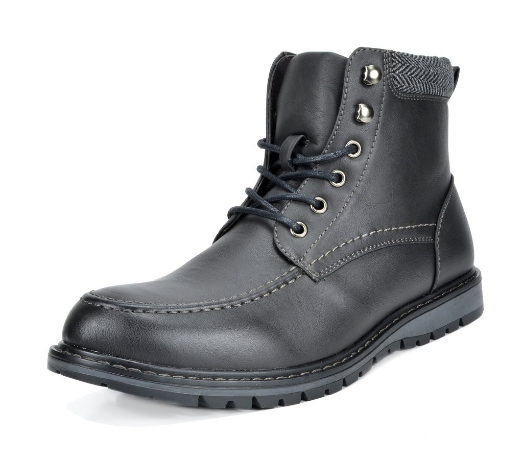 Bruno Marc Men's Apache-01 Black Faux Fur Lined Motocycle Combat Oxford Ankle Boots Size 13 M US by Bruno Marc